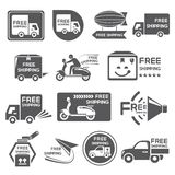Free shipping label, icons Stock Photography