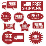 Free shipping labels. Red vector free shipping labels over white background vector illustration
