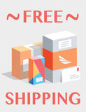 Free shipping. Mail boxes, packages. Royalty Free Stock Images