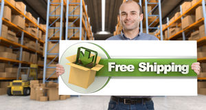 Free shipping, man with sign Stock Image