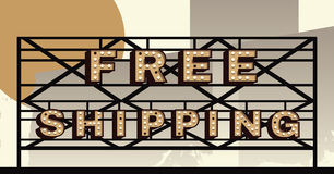 Free Shipping Marquee Sign. Vector marquee letter Free Shipping sign stock illustration