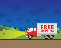 Free Shipping at Night. An illustration of a shipping truck driving at night. On the side of the semi truck it says Free Shipping vector illustration