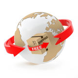 Free shipping over the globe on white background Royalty Free Stock Photo