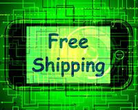 Free Shipping On Phone Shows No Charge Or Gratis Deliver Royalty Free Stock Images