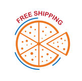 Free shipping of pizza isolated on white background Stock Images