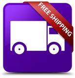 Free shipping purple square button red ribbon in corner. Free shipping isolated on purple square button with red ribbon in corner abstract illustration Royalty Free Stock Photography