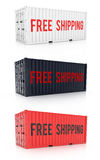 Free shipping red black white metal freight shipping container o Royalty Free Stock Image