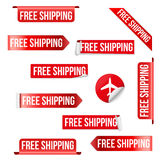 Free Shipping Red Label Design Stock Image