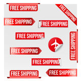 Free Shipping Red Label Design Royalty Free Stock Image