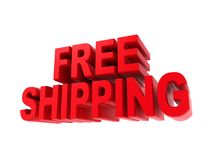 Free Shipping - Red Text Isolated on White. Stock Image