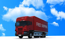 Free shipping red truck. Red truck with free shipping written on side. Blue sky background Stock Photography