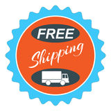Free Shipping Seal Emblem Sign. Free Shipping web button with delivery truck or van or sign or emblem or seal design, on white Royalty Free Stock Image