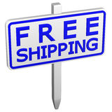 Free shipping sign. 3D rendering. Royalty Free Stock Photos