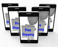 Free Shipping Sign Phone Means Product Shipped At No Cost Royalty Free Stock Photography