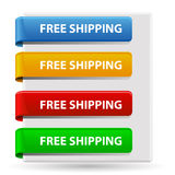 Free shipping signs. Set of colorful free shipping signs in the shape of banners vector illustration