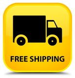 Free shipping special yellow square button Stock Photography
