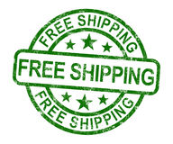 Free Shipping Stamp Showing No Charge Or Gratis To Deliver Stock Images