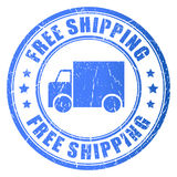 Free shipping vector rubber stamp. On white background stock illustration