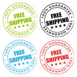 Free shipping stamps. Guarantee set vector illustration