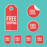 Free shipping sticker. Transport cost delivery no charge. Modern flat design, red color tag. Advertising promotional Royalty Free Stock Photos