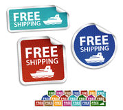 Free shipping stickers, labels, icon, button Stock Photos