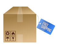 Free shipping tag and box Royalty Free Stock Photography