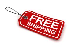Free shipping tag, 3d render Stock Images