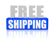 Free shipping in 3d letters and block Royalty Free Stock Image