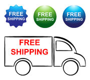 Free shipping truck and buttons. Illustration of free shipping truck and buttons royalty free illustration