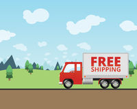 Free Shipping Truck Delivering Mail. An illustration of a small semi truck driving down the road on a sunny day. On the side of the delivery van it says Free stock illustration