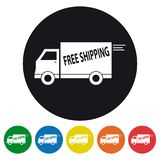 Free Shipping Truck Icons Set - Vector Illustration - Isolated On White vector illustration
