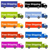 Free Shipping Truck Logos. An illustration featuring an assortment of trucks labelled 'Free Shipping' for use as logos or icons stock illustration