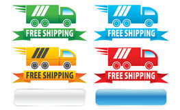 Free Shipping Trucks Ribbons and Buttons. Free shipping seal graphics with four color variations. You also get white and blue web button graphics Royalty Free Stock Photography