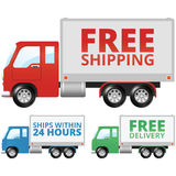 Free Shipping Trucks. Small shipping trucks that say Free Shipping, Free Delivery and Ships within 24 Hours royalty free illustration