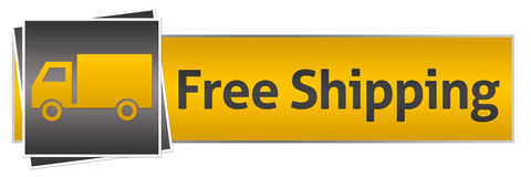 Free Shipping With Van Yellow Black Horizontal Royalty Free Stock Photography