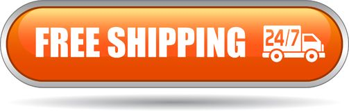Free shipping web button. Vector illustration on isolated white background - Free shipping web button Royalty Free Stock Photo