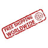 Free shipping worldwide rubber stamp stock photo