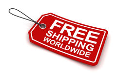 Free shipping worldwide tag, 3d render Stock Image