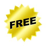 Free Sign. Yellow Free Sign - web button - internet design Royalty Free Stock Images