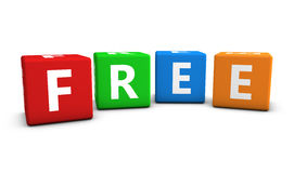 Free Sign On Colorful Cubes. Website, Internet and blog concept with free word and sign on colorful cubes on white background royalty free stock image