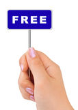 Free sign in hand. Isolated on white background Royalty Free Stock Photography