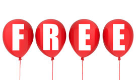 Free sign on red balloons Stock Photo