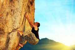 Free solo climbing Royalty Free Stock Photos