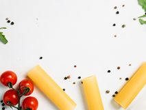 Free space for cookery recipe on white background. Food art. bright colours Royalty Free Stock Photography