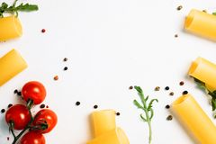 Free space for cookery recipe on white background. Food art. bright colours Royalty Free Stock Photo