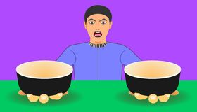 Free space on cup for your food promotion. a man show two ware for meal recommended.  illustration eps10 vector illustration