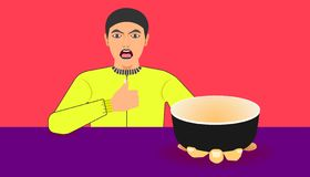Free space on cup for your food promotion. a man show a ware for meal recommended.  illustration eps10 royalty free illustration