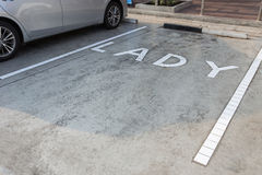 Free space parking area for LADY Royalty Free Stock Photo
