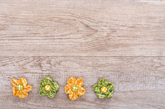 Free space on wooden board with blossoms Royalty Free Stock Photography