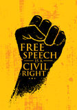 Free Speech Is A Civil Right. Inspiring Creative Social Vector Typography Banner Design Concept On Grunge Wall Stock Images